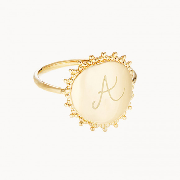 personalized mother ring gold plated beaded signet ring merci maman