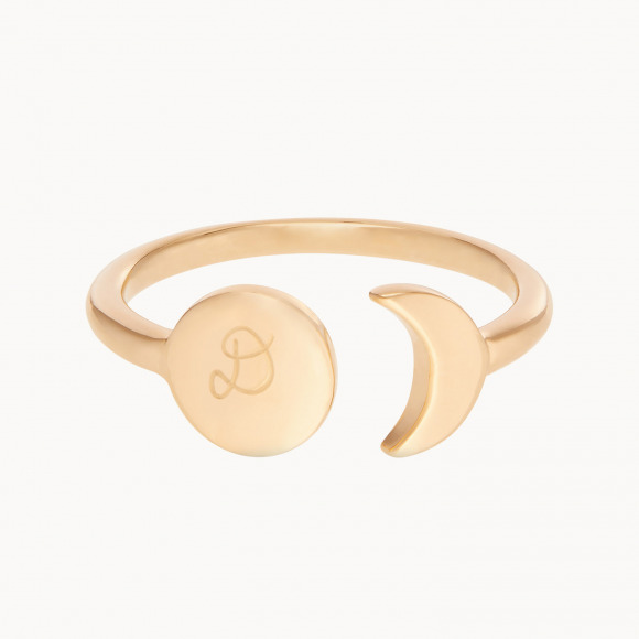 personalized mother ring gold plated disc and moon ring merci maman