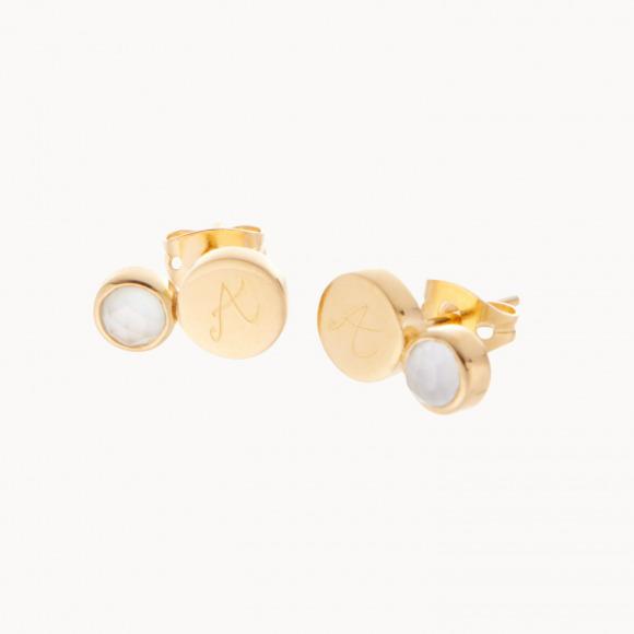 Orecchini personalizzati con pietra preziosa placcati oro orecchini mamma merci maman