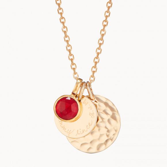collana personalizzata doppio disco martellato e pietra della nascita placcata oro collana merci maman