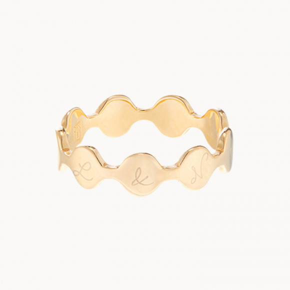 personalized mother ring gold plated initial pastille ring merci maman