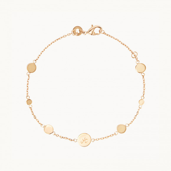 personalised mother bracelet gold plated initial pastille chain charm bracelet merci maman
