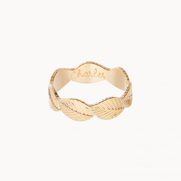 personalized mother ring gold plated leaf ring merci maman
