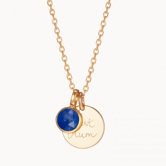 Collar con medalla personalizada y piedra de nacimiento madre baño de oro collar con medalla merci maman