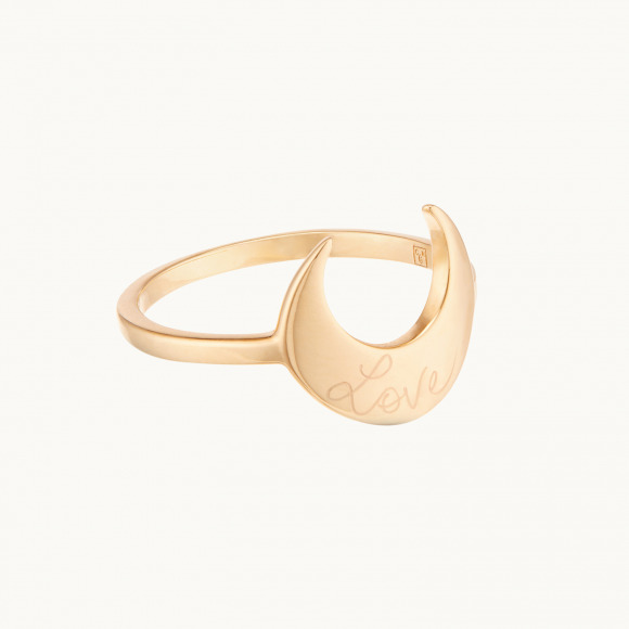 personalized mother ring gold plated moon ring merci maman