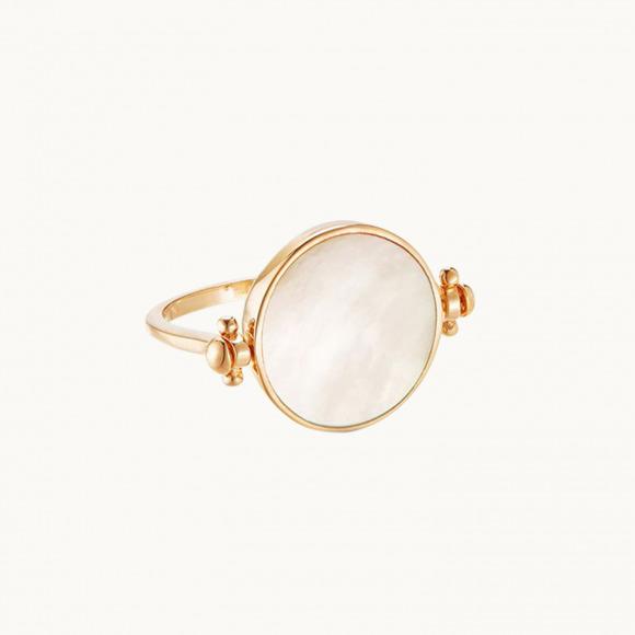 anello personalizzato mamma fanello girevole in madre perla placcato oro giallo merci maman
