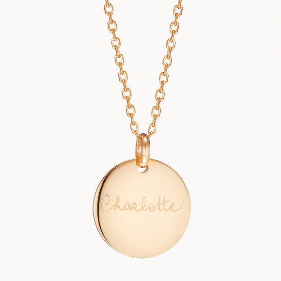 personalised mother necklace gold plated signature disc necklace merci maman
