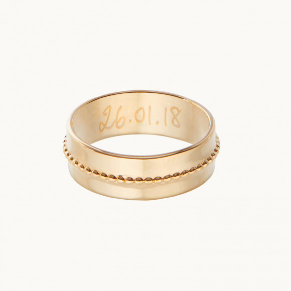 personalized mother ring gold plated single beaded ring merci maman