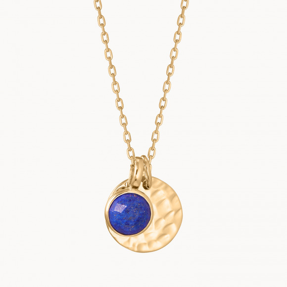 Collar personalizado con medalla pequeña martelé y piedra de nacimiento madre Baño de oro merci maman
