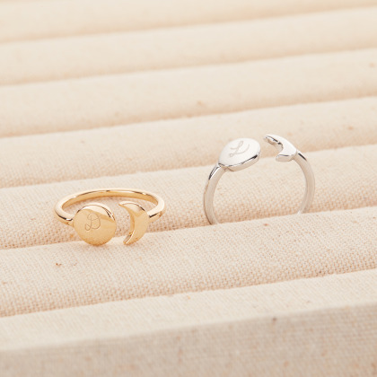 Personalized Disc & Moon Ring