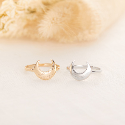 Personalized Moon Ring