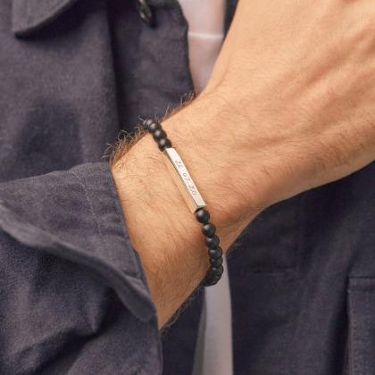 Personalisiertes Bar Halbedelsteinarmband mit Beads