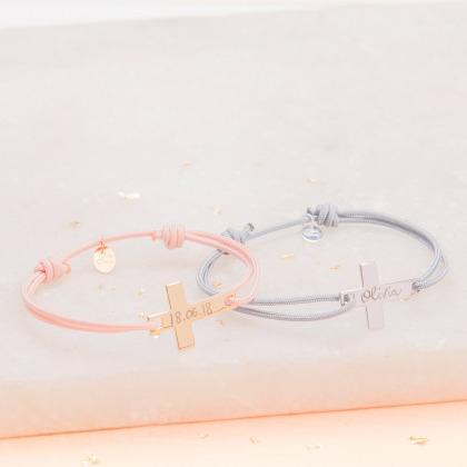 Personalised Flat Cross Bracelet