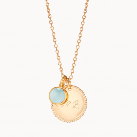 Collar personalizado con medalla de cuentas y piedra de nacimiento madre baño de oro collar con piedra de nacimiento merci maman