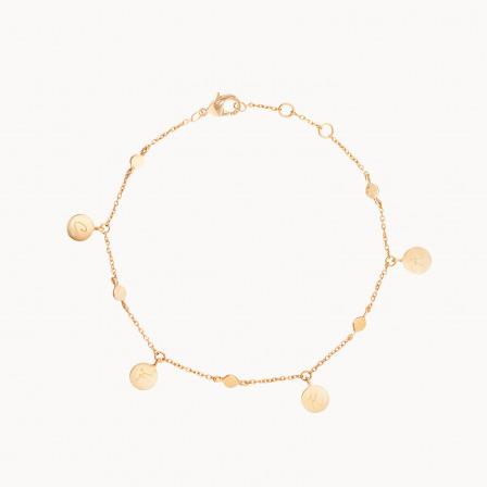 Bracelet Bohème personnalisé plaqué or chaîne pastille Merci Maman
