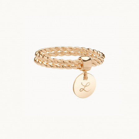 Personalised mother ring gold plated entwined double band ring merci maman