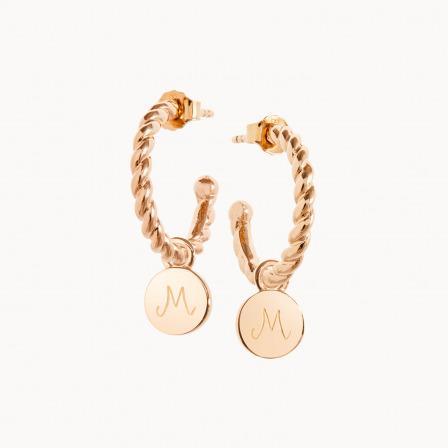 Personalised mother earrings gold plated entwined hoop earrings