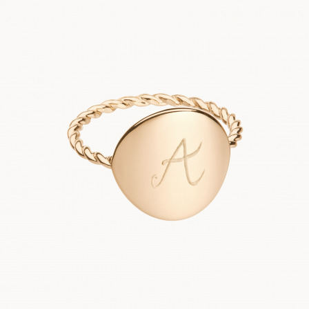 Personalised mother gold plated entwined signet ring merci maman