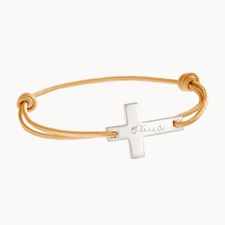 personalised mother child bracelet gold plated flat cross bracelet merci maman
