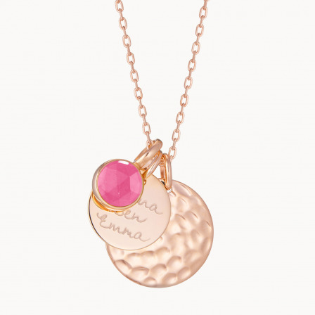 Personalised Hammered Double Disc & Birthstone Necklace-18K Rose Gold Plated