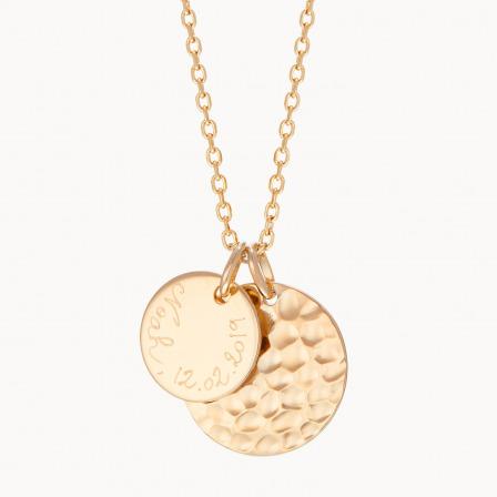Collar personalizado con dúo de medallas martelé madre baño de oro collar con dúo de medallas merci maman