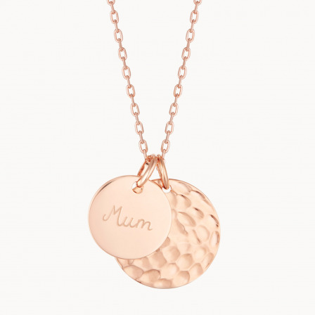 Personalised Hammered Double Disc Necklace-18K Rose Gold Plated