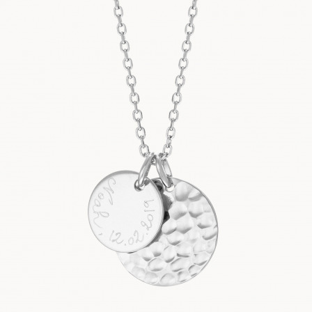 Personalised Hammered Double Disc Necklace-925 Sterling Silver