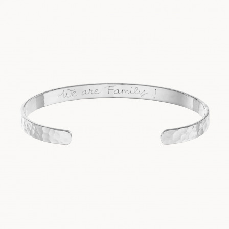 Personalised Hammered Open Bangle-925 Sterling Silver