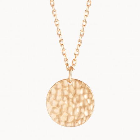 Collar personalizado con medalla grande martelé madre baño de oro collar con medalla