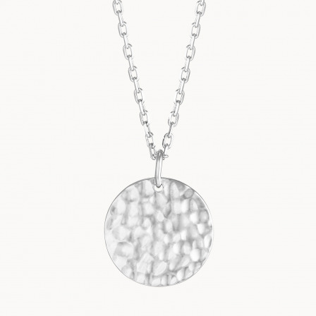 Personalised Large Hammered Disc Necklace-925 Sterling Silver