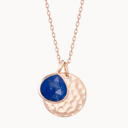 Personalised Large Hammered Disc & Gemstone Necklace-18K Rose Gold Plated