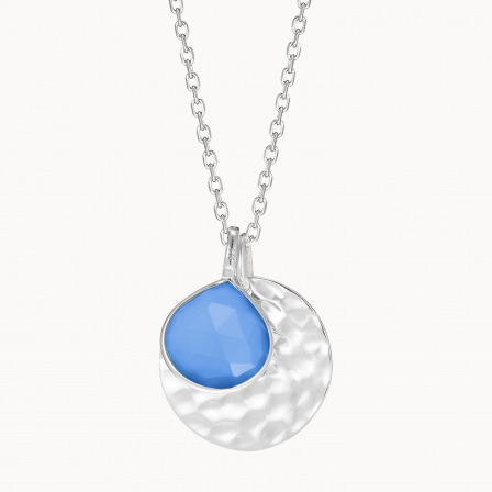 Personalised Large Hammered Disc & Gemstone Necklace-925 Sterling Silver