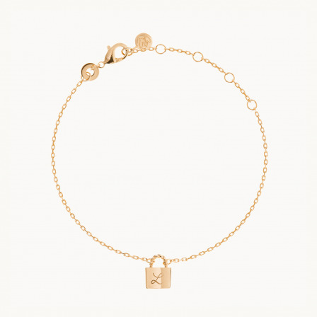 Personalised mother bracelet gold plated padlock chain bracelet merci maman