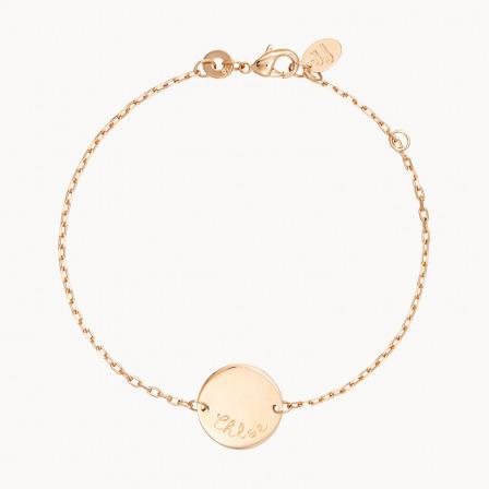 Bracelet Pastille sur chaîne personnalisé maman plaqué or merci maman