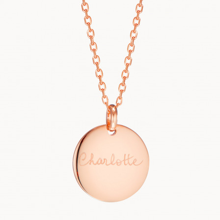 Personalised Signature Disc Necklace-18K Rose Gold Plated