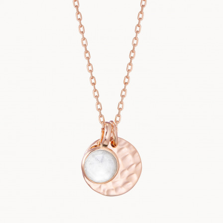 Personalised Small Hammered Disc & Birthstone Necklace-18K Rose Gold Plated