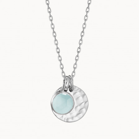 Personalised Small Hammered Disc & Birthstone Necklace-925 Sterling Silver