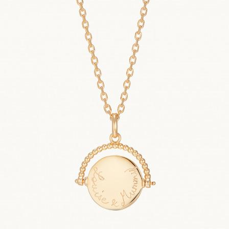 Collar con colgante giratorio personalizado madre baño de oro collar giratorio merci maman